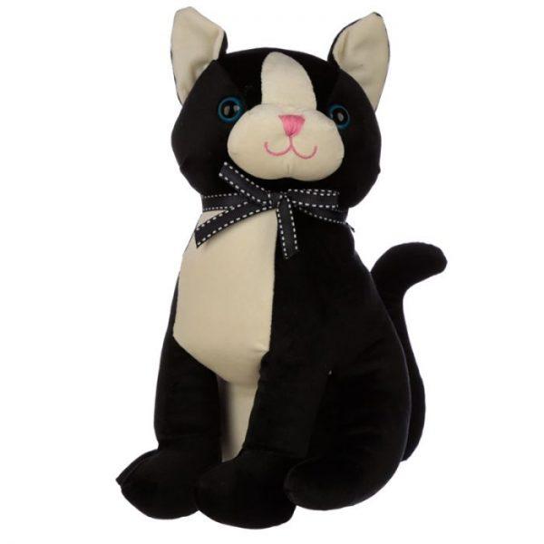 Černá kočka se stuhou Zarážka do dvěří 1 - pro milovníky koček