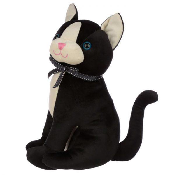 Černá kočka se stuhou Zarážka do dvěří 4 - pro milovníky koček