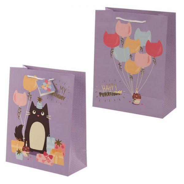 Happy Purrthday Feline Fine Dárková taška s kočkou - velká 1 - pro milovníky koček