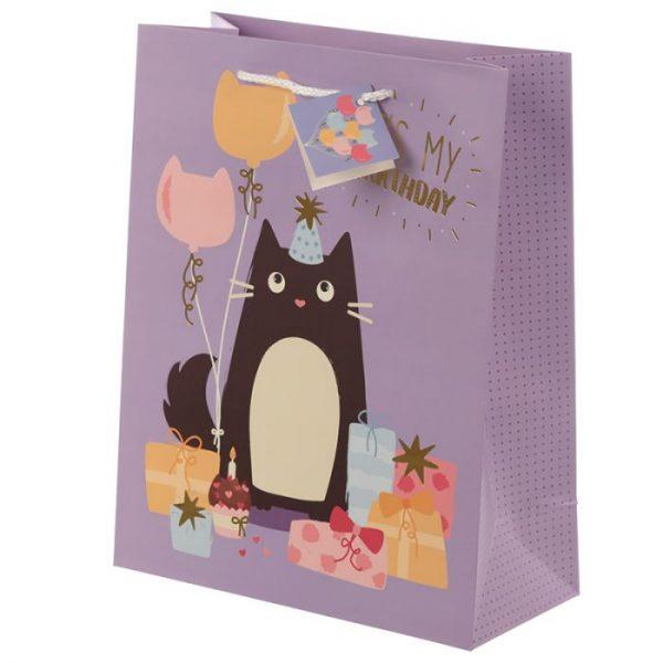 Happy Purrthday Feline Fine Dárková taška s kočkou - velká 2 - pro milovníky koček