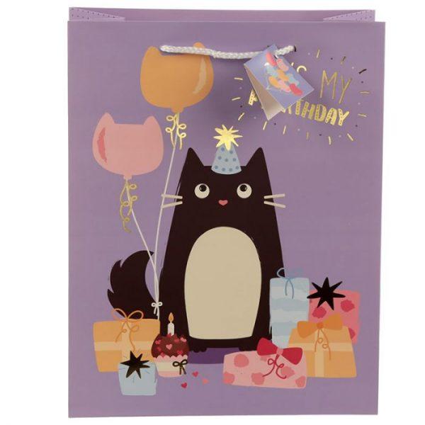 Happy Purrthday Feline Fine Dárková taška s kočkou - velká 3 - pro milovníky koček