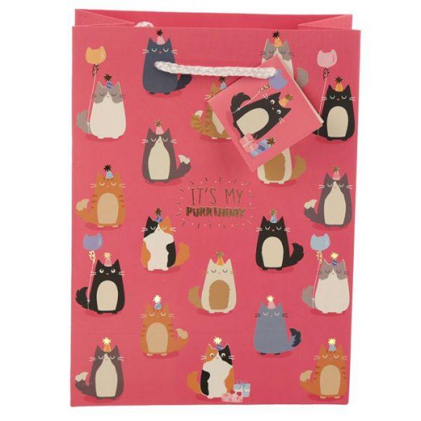 Happy Purrthday Feline Fine Dárková taška s kočkou - střední 3 - pro milovníky koček