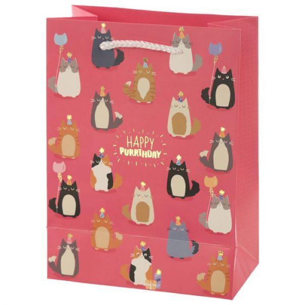 Happy Purrthday Feline Fine Dárková taška s kočkou - střední 2 - pro milovníky koček