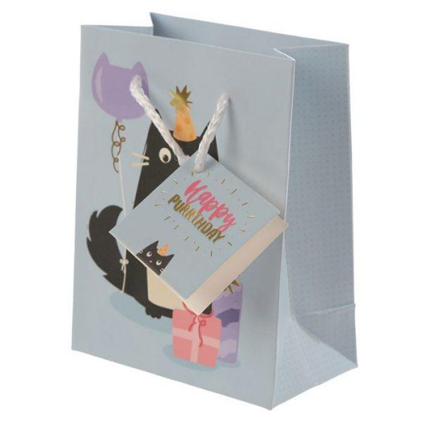 Happy Purrthday Feline Fine Dárková taška s kočkou - malá 4 - pro milovníky koček