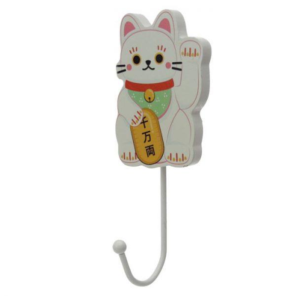 Dřevený háček Maneki Neko - kočka štěstí 1 - pro milovníky koček