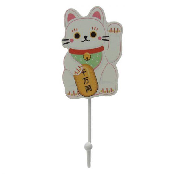 Dřevený háček Maneki Neko - kočka štěstí 4 - pro milovníky koček