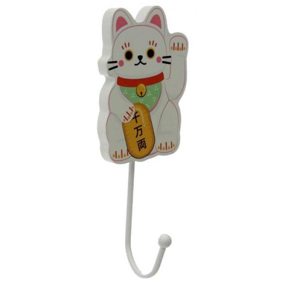 Dřevený háček Maneki Neko - kočka štěstí 2 - pro milovníky koček