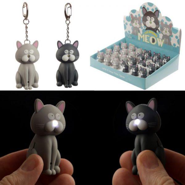 Kočičí LED mňaukající klíčenka 1 - pro milovníky koček