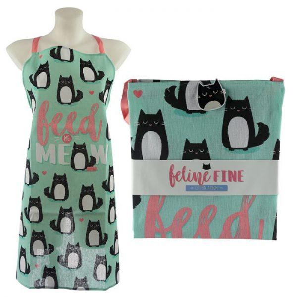 Zástěra polobavlněná - Cat Feline Fine Feed Me Meow 1 - pro milovníky koček