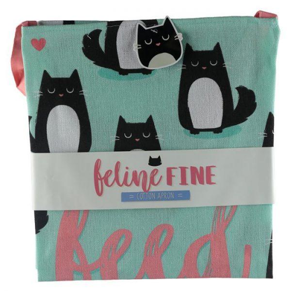 Zástěra polobavlněná - Cat Feline Fine Feed Me Meow 5 - pro milovníky koček