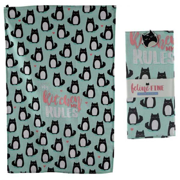 Ručník polobavlněný - Cat Feline Fine My Kitchen My Rules 1 - pro milovníky koček