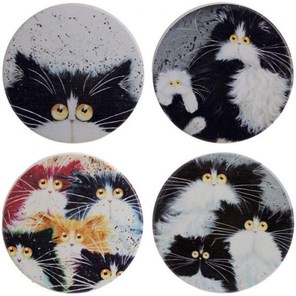 Kim Haskins Kočky Set 4 tácků 1 - pro milovníky koček