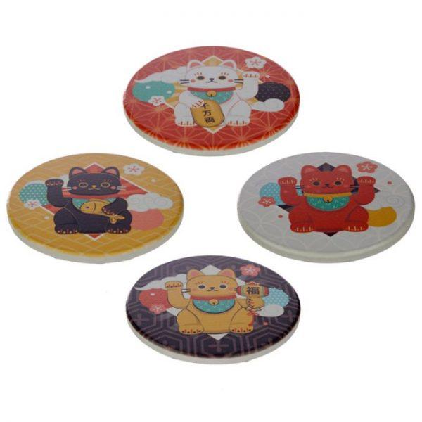 Set 4 tácků Maneki Neko - kočka štěstí 1 - pro milovníky koček