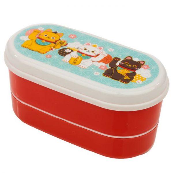 Dvoupatrová krabička na oběd s vidličkou a lžící s motivem kočiček pro štěstí Maneki Neko 6 - pro milovníky koček