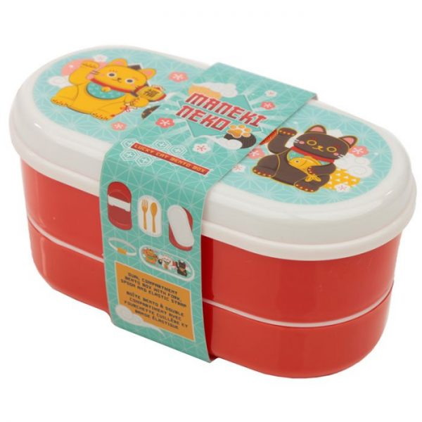 Dvoupatrová krabička na oběd s vidličkou a lžící s motivem kočiček pro štěstí Maneki Neko 9 - pro milovníky koček