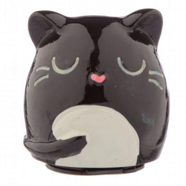 Feline Fine Cat Balzám na rty v držáku ve tvaru kočky - černý 1 - pro milovníky koček