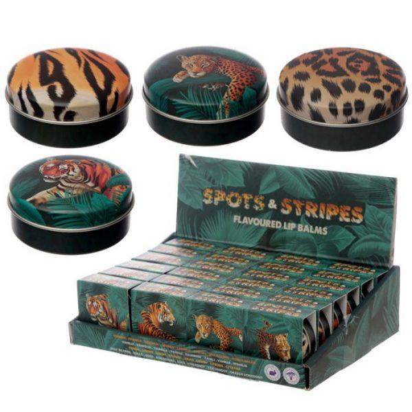 Spots & amp; Stripes Big Cat Animal Print Balzám na rty v plechovce - vanilka 2 - pro milovníky koček