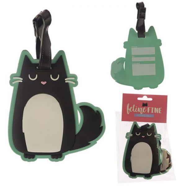 Kočka Feline Fine PVC Štítek na zavazadlo 1 - pro milovníky koček