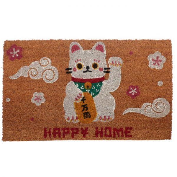 Maneki Neko - kočka štěstí Rohožka z kokosových vláken 1 - pro milovníky koček