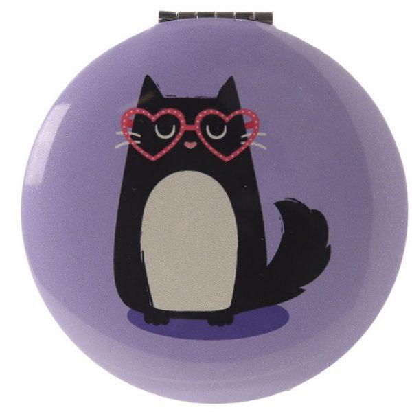 Feline Fine Cat Kompaktní zrcadlo - světle fialové 1 - pro milovníky koček