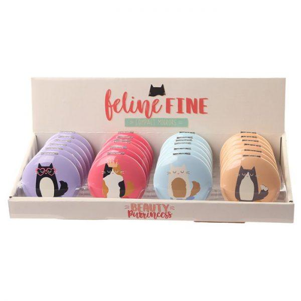 Feline Fine Cat Kompaktní zrcadlo - světle fialové 3 - pro milovníky koček