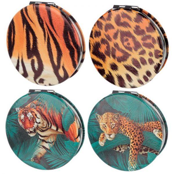 Spots & Stripes Velká Kočička Koženkové kompaktní zrcátko 1 - pro milovníky koček