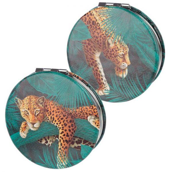 Spots & Stripes Velká Kočička Koženkové kompaktní zrcátko 2 - pro milovníky koček