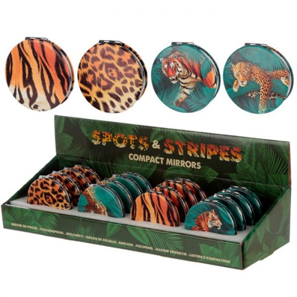 Spots & Stripes Velká Kočička Koženkové kompaktní zrcátko 3 - pro milovníky koček