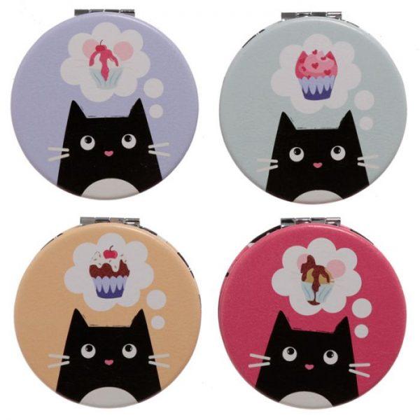 Kočka Feline Fine Koženkové kompaktní zrcátko 1 - pro milovníky koček
