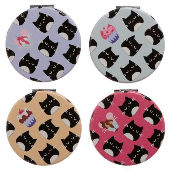 Feline Fine Cat Koženkové kompaktní zrcadlo - růžové 4 - pro milovníky koček