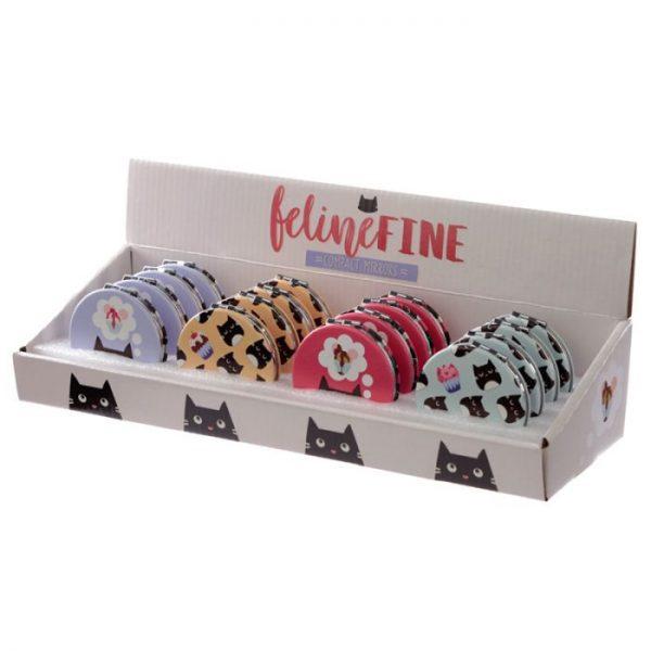Feline Fine Cat Koženkové kompaktní zrcadlo - růžové 3 - pro milovníky koček