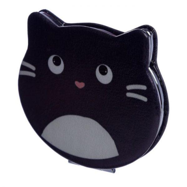 Feline Fine Koženkové kompaktní zrcadlo ve tvaru kočky - černé 1 - pro milovníky koček
