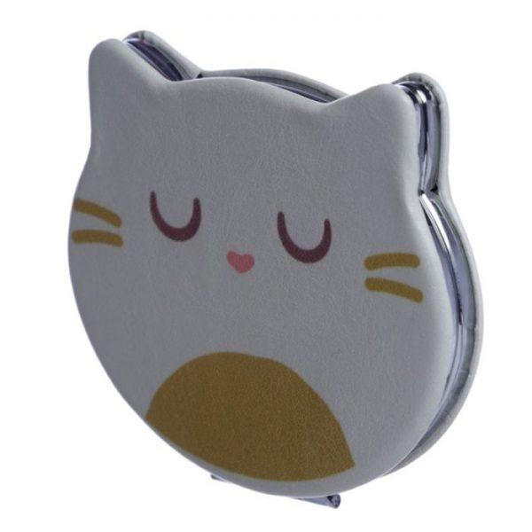 Feline Fine Koženkové kompaktní zrcadlo ve tvaru kočky - bíle 1 - pro milovníky koček