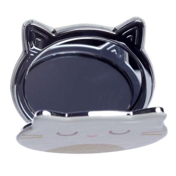 Feline Fine Koženkové kompaktní zrcadlo ve tvaru kočky - bíle 3 - pro milovníky koček