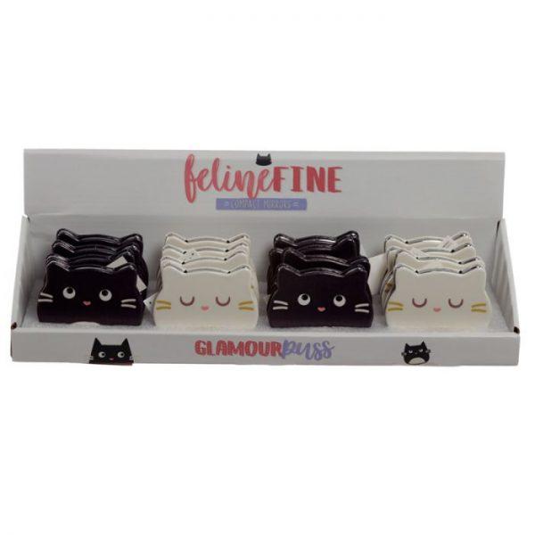 Feline Fine Koženkové kompaktní zrcadlo ve tvaru kočky - bíle 2 - pro milovníky koček