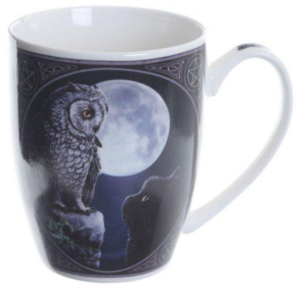 Lisa Parker Purrfect Wisdom Kočka a sova Porcelánový hrníček 4 - pro milovníky koček