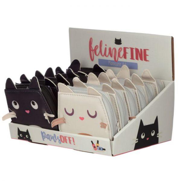 Mini pětidílný manikúrový set v pouzdře s motivem kočičky Feline Fine 4 - pro milovníky koček