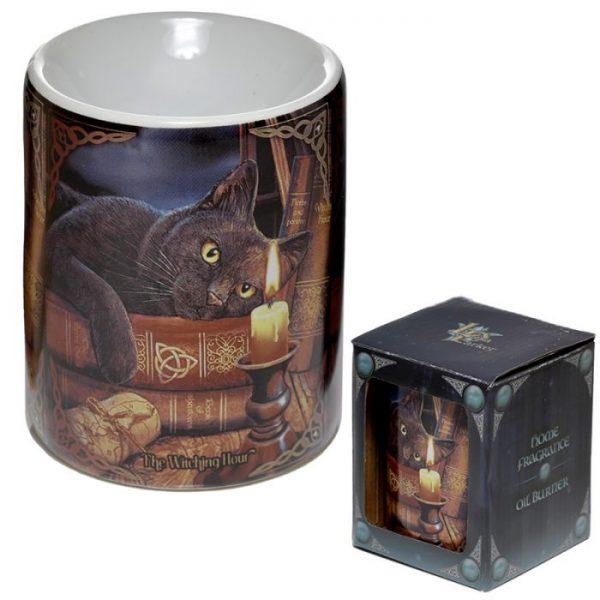 Lisa Parker Keramická aromalampa s kočkou a knihami 2 - pro milovníky koček