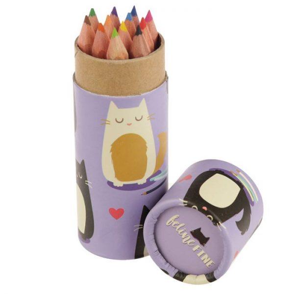 Kočka Feline Fine pastelky v pouzdru 8 - pro milovníky koček