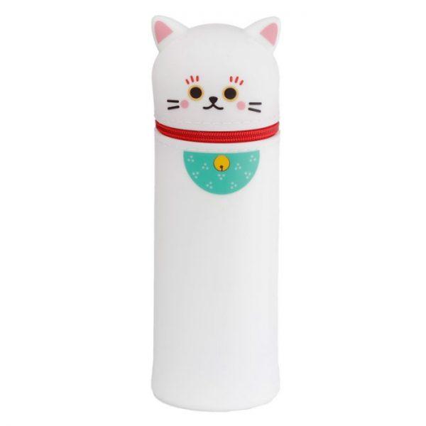 Silikonový penál kočka štestí maneki neko- bílá 1 - pro milovníky koček