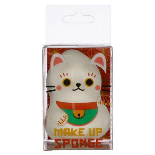 Tvarovaná houbička na make-up s kočičkou pro štěstí Maneki Neko bílá (beautyblender) 1 - pro milovníky koček