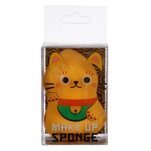 Tvarovaná houbička na make-up s kočičkou pro štěstí Maneki Neko zlatá (beautyblender) 1 - pro milovníky koček