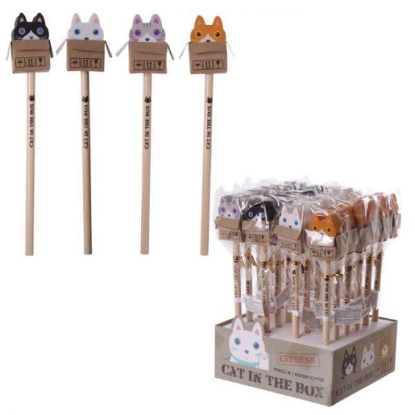 Kočka v krabici - tužka s gumou 1 - pro milovníky koček