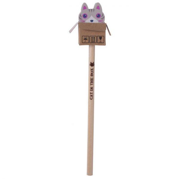 Kočka v krabici - tužka s gumou 6 - pro milovníky koček