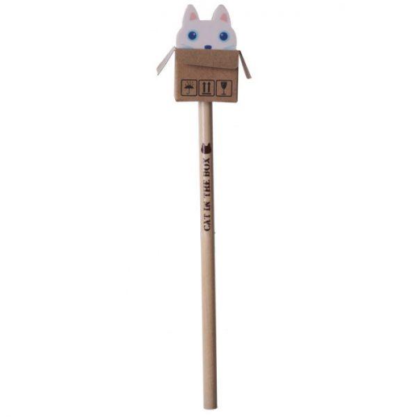 Kočka v krabici - tužka s gumou 4 - pro milovníky koček