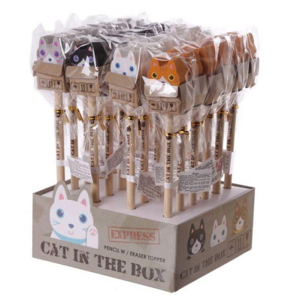 Kočka v krabici - tužka s gumou 2 - pro milovníky koček