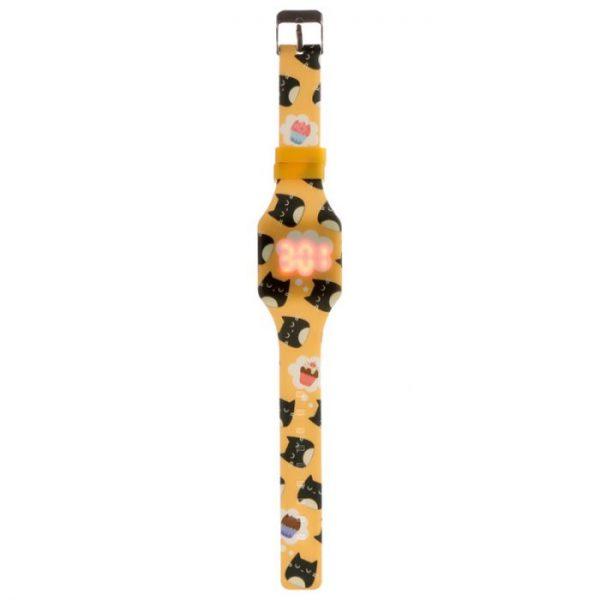Žluté dětské silikonové digitální hodinky s motivem kočičky Feline Fine 4 - pro milovníky koček