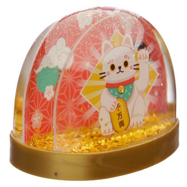 Snežítko s kočičkou pro štěstí Maneki Neko 4 - pro milovníky koček