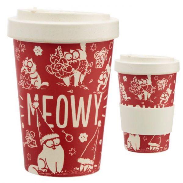 Simon's Cat Meowy Vánoční Cestovní bambusový hrníček 1 - pro milovníky koček