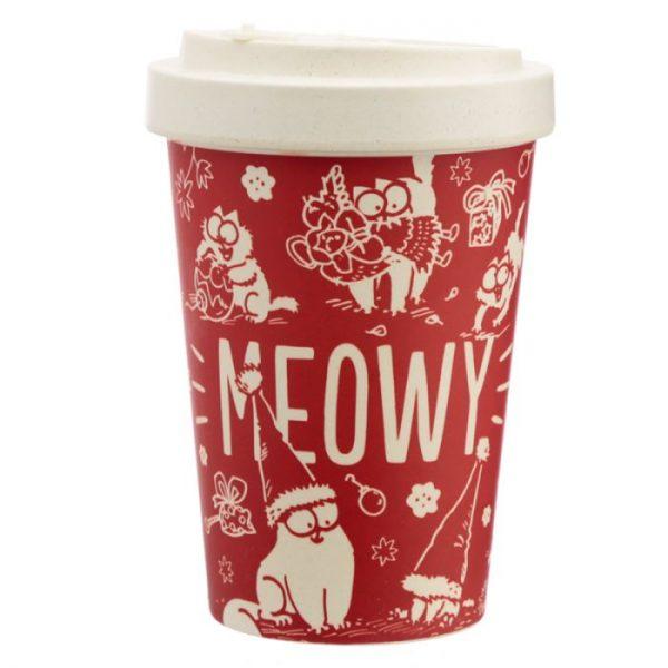 Simon's Cat Meowy Vánoční Cestovní bambusový hrníček 3 - pro milovníky koček